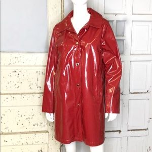 Michael Kors Red Patent Trench Coat sz L
